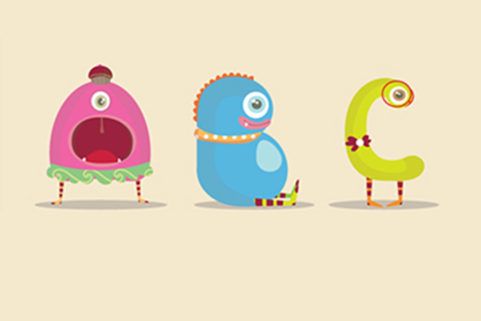 Tipografía ilustrada con monstruos y personajes
